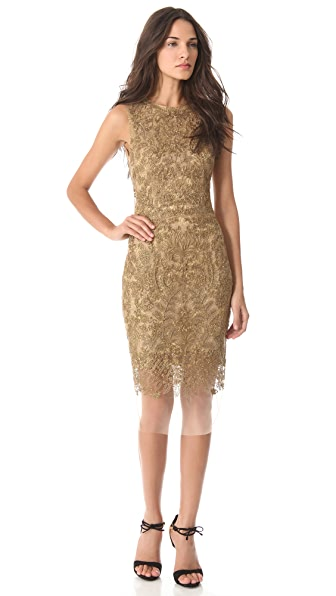 Vera Wang Collection Embroidered Lace Sheath Dress