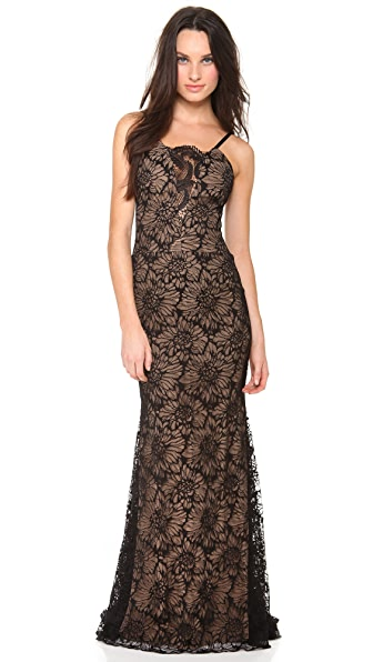 Vera Wang Collection Sleeveless Lace Gown
