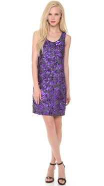 Vera Wang Collection Sleeveless Floral Sequin Dress