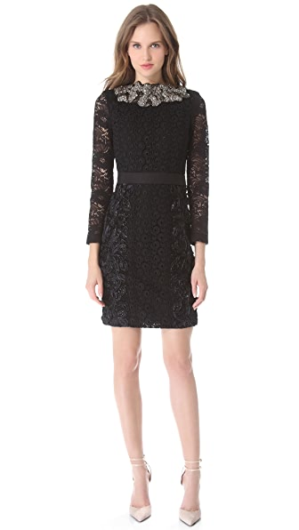 Vera Wang Collection Long Sleeve Shift Dress