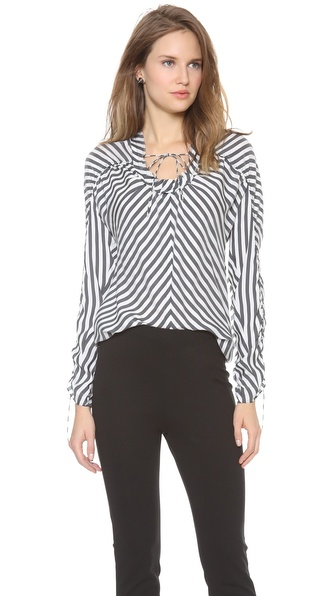 Vera Wang Collection Drawstring Long Sleeve Top