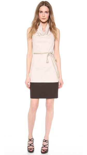 Vera Wang Collection Colorblock Cowl Neck Dress