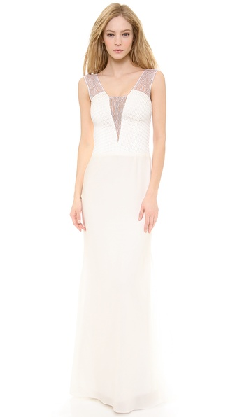 Vera Wang Collection Scribble Lace Gown