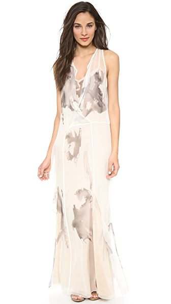 Vera Wang Collection Inkblot Painted Flyaway Gown