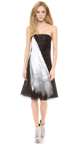 Vera Wang Collection Painted Brushstroke Dress