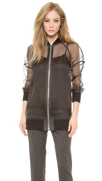 Vera Wang Collection Zip Up Baseball Jacket