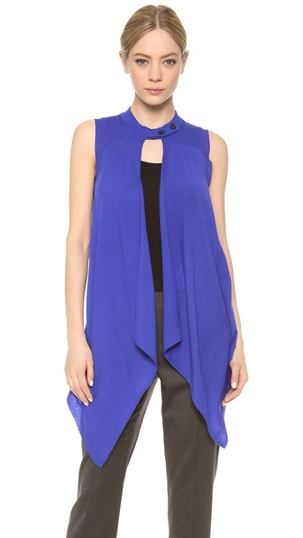 Vera Wang Collection Button Collar Vest