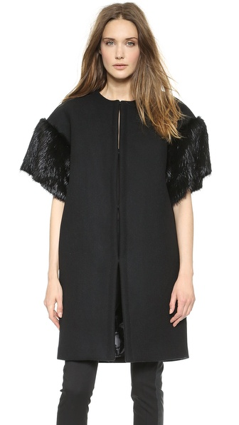 Vera Wang Collection Double Face Wool Coat with Beaver Sleeves
