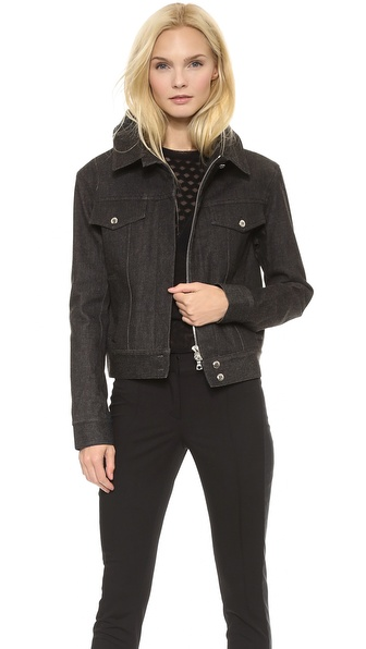 Vera Wang Collection Stretch Denim Portrait Collar Jacket
