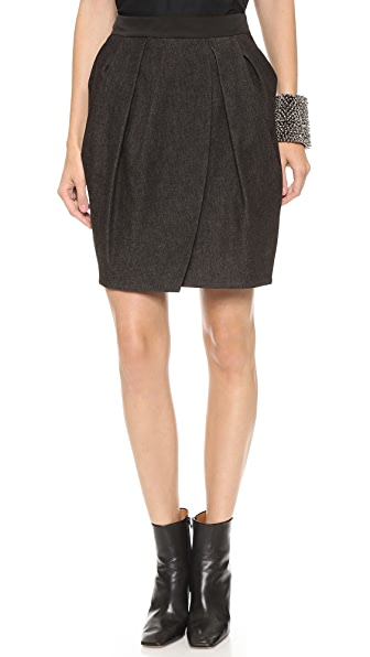 Vera Wang Collection Draped Petal Denim Skirt