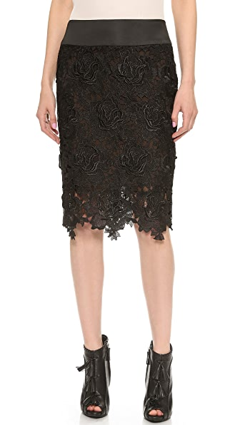 Vera Wang Collection Rose Guipure Pencil Skirt