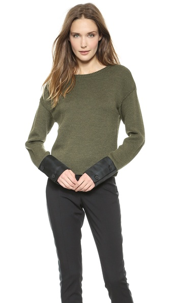 Vera Wang Collection Wool Pullover with Satin Cuffs