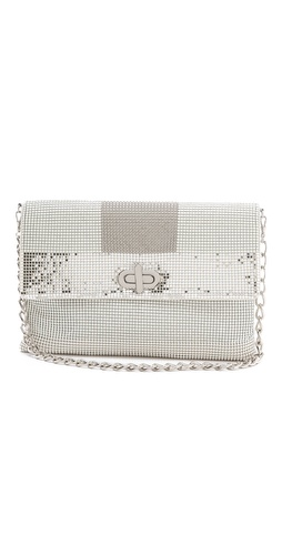 Whiting & Davis Graphic Mixed Mesh Clutch at Shopbop.com