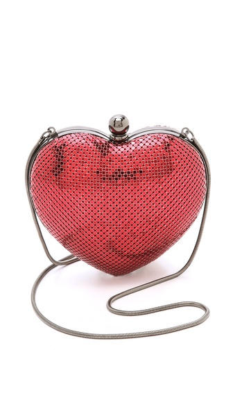 Whiting & Davis Charity Hearts Clutch