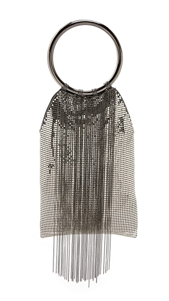 Whiting & Davis Cascade Fringe Double Ring Clutch