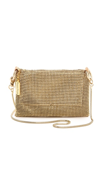 Kupi Whiting & Davis tasnu online i raspordaja za kupiti A petite Whiting & Davis cross body bag with a metal mesh shell and top flap. A top zip opens to the lined interior. Gold tone hardware. Optional snake chain shoulder strap. Weight: 7.0oz / 0.2kg. Imported, China. Measurements Height: 4.5in / 11.5cm Length: 6.5in / 16.5cm Depth: 0.75in / 2.0cm Strap drop: 25.25in / 64.0cm. Available sizes: One Size