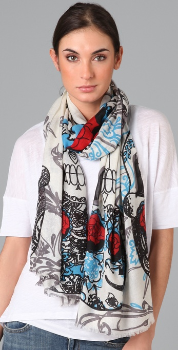 we are owls Paisley Skulls Scarf