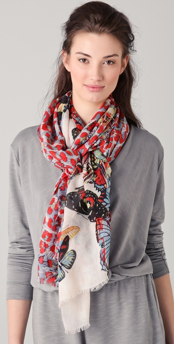 we are owls Leopard & Butterflies Cashmere Scarf
