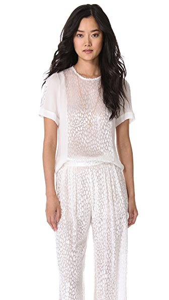 Wes Gordon Flocked Short Sleeve Blouse