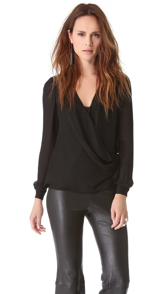 Wes Gordon Draped Wrap Blouse