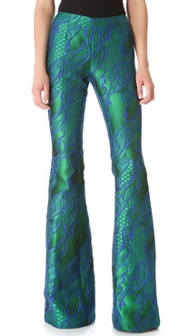 Wes Gordon Filigree Brocade Flare Pants