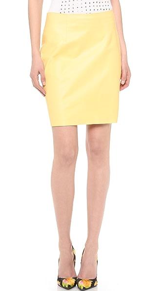 Wes Gordon Leather Straight Skirt