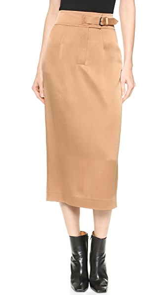 Wes Gordon Buckled High Waist Pencil Skirt