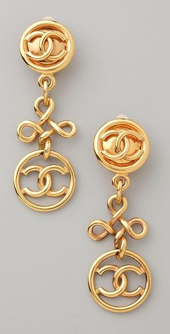 WGACA Vintage Vintage Chanel CC Dangling Earrings