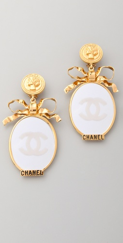 WGACA Vintage Vintage Chanel CC Bow Mirror Earrings