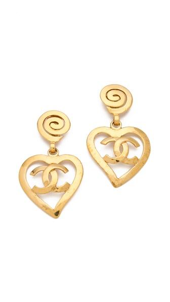 WGACA Vintage Vintage Chanel CC Heart Drop Earrings
