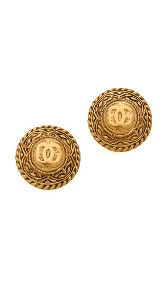 WGACA Vintage Vintage Chanel CC Wheat Motif Earrings