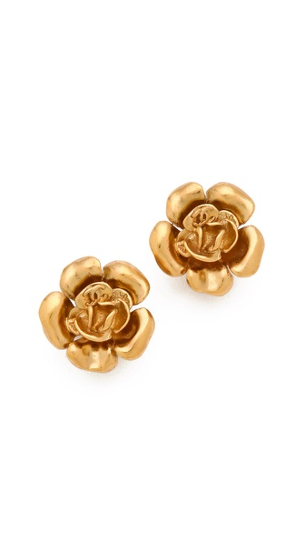 WGACA Vintage Vintage Chanel Camelia Earrings
