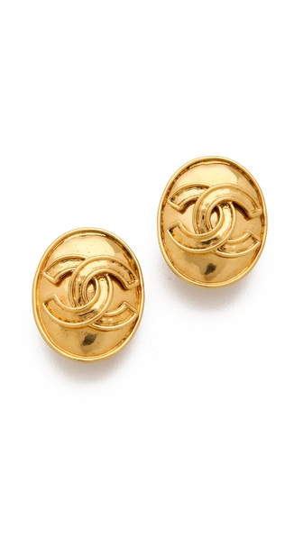 WGACA Vintage Vintage Chanel Oval CC Earrings