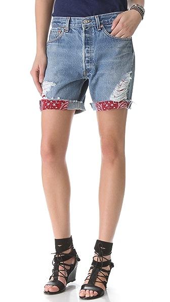 WGACA Vintage Shredded Shorts with Bandana Patches