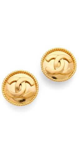 WGACA Vintage Vintage Chanel CC Circle Earrings
