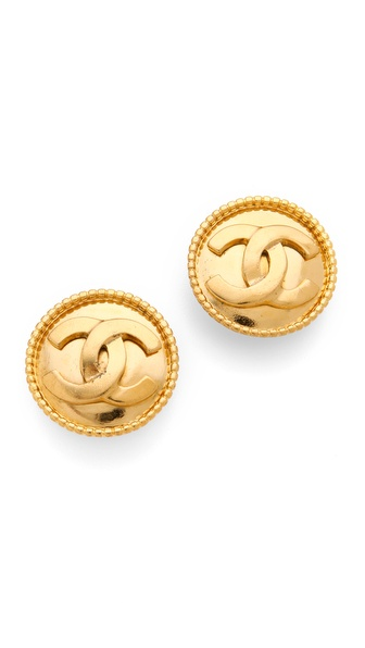 WGACA Vintage Vintage Chanel CC Circle Earrings