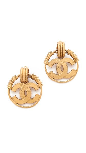 WGACA Vintage Vintage Chanel CC Tri Ring Clip On Hoop Earrings