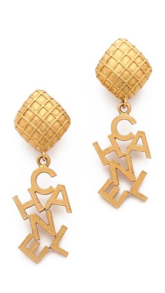 WGACA Vintage Vintage Chanel Word Clip On Drop Earrings