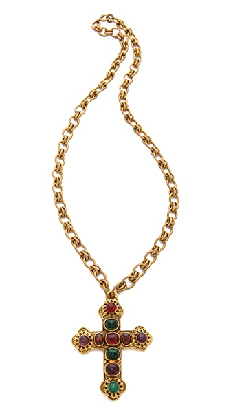 WGACA Vintage Vintage Chanel Gripoix Cross Necklace