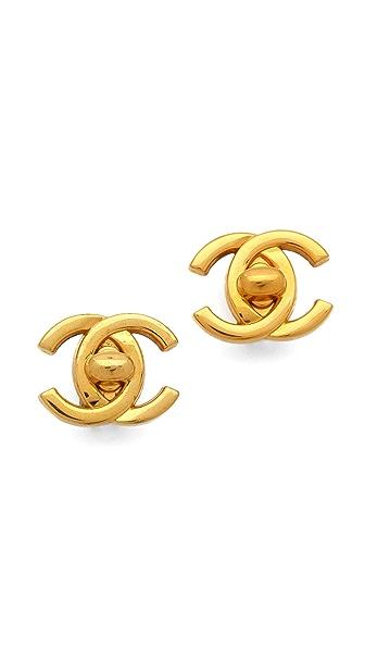 WGACA Vintage Vintage Chanel CC Closure Earrings
