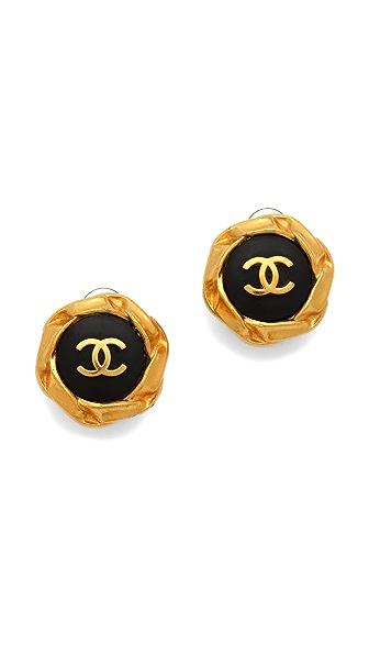 WGACA Vintage Vintage Chanel Round CC Earrings