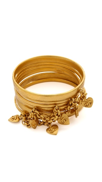 WGACA Vintage Vintage Chanel Heart Bangle Set