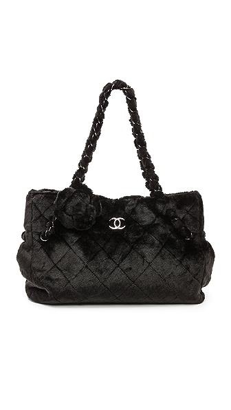 WGACA Vintage Vintage Chanel Faux Fur Camelia Tote