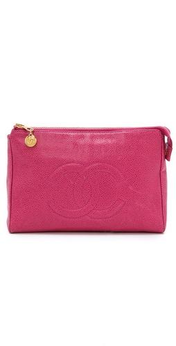 WGACA Vintage Vintage Chanel Pink Caviar Cosmetic Bag