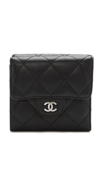 WGACA Vintage Vintage Chanel Black Double Flap Wallet