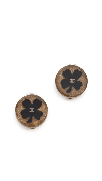 What Goes Around Comes Around Vintage Chanel Clover Clip On Earrings