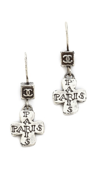 What Goes Around Comes Around Vintage Chanel Etch Cross Earrings