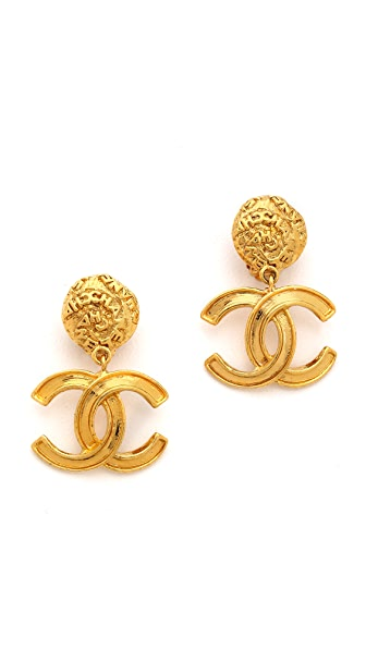 What Goes Around Comes Around Vintage Chanel CC Dangle Earrings