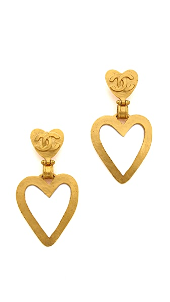 What Goes Around Comes Around Vintage Chanel Heart Clip On Earrings
