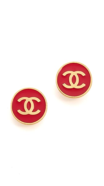 What Goes Around Comes Around Vintage Chanel Round Clip On Earrings